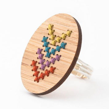 DIY Cross Stitch Jewelry Kit - Adjustable Ring with Multicolor Chevron Design