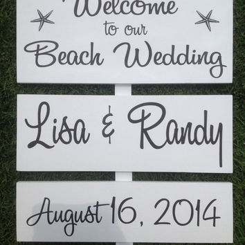 Beach Wedding Signs - Directional Signs, Receptions,  Shower Decor, Outdoor Wedding, Barn Wedding