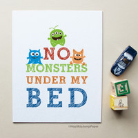 No Monsters Under My Bed art print