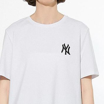 NY MLB Summer Couple Simple Letter Embroidery Round Collar T-Shirt Top Blouse