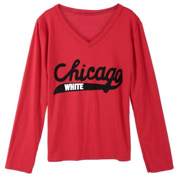 Stylish V-Neck Long Sleeves Letter Printed T-Shirt For Women