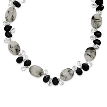 Sterling Silver 16 Inch Tourmalinated Quartz/Black Agate/Clear Quartz Necklace