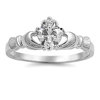 Sterling Silver Clear CZ Claddagh Ring