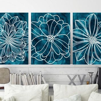 Teal Blue Flower Bedroom WALL ART, Watercolor Flower CANVAS or Prints, Teal Blue Flower Bathroom Wall Decor, Flower Home Art Decor, Set of 3