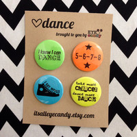 Dance Pin Set of 4 Neon 1.5 inch Modern Hip Hop