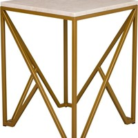 Large Kory End Table Powdercoated Gold With A White Granite Top