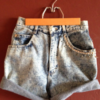 Acid washed studded/spiked High Waisted Shorts