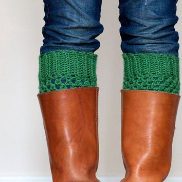 Crochet Boot Cuffs in Sage Green by LumiStyle on Etsy