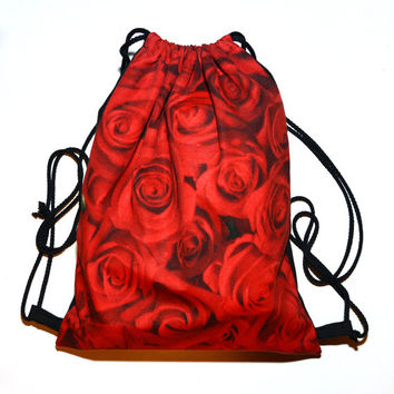 Modern American Beauty Red Roses string backpack. DrawString String backpack bag red roses American Beauty modern hipster