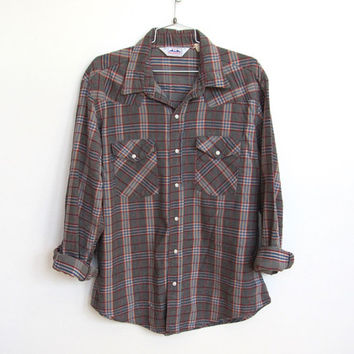 Mens Vintage 1980s Dakota / Plaid Flannel Button-down Western Shirt / White Pearl Snaps