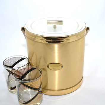 Ice Bucket Gold Ice Bucket Faux Brushed Metal Ice Bucket Vintage Gold Ice Bucket Barware Bar Cart Georges Briard Ice Bucket