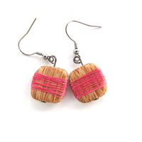 Palm tree wood earrings with nice pink thread Stainless steel chic design trendy gift idea Exotic wood Fashion jewelry Statement piece