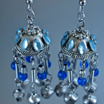Vintage Blue Indian Chandelier Runway Earrings Silver Plated and Blue Glass Beads Wedding Jewelry