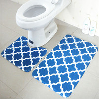 Bath Mat set 2 Pieces 100% Polyester Non Slip Bathroom Carpet And Toliet Rugs 37*45+45*75cm Water Absorption Carpets