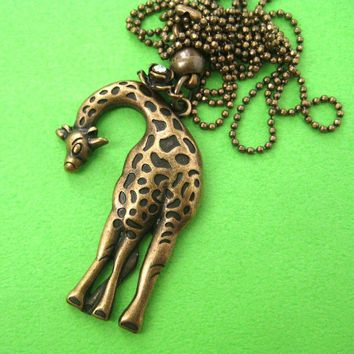 Giraffe Pendant Animal Necklace in Bronze | Animal Jewelry