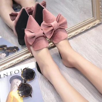Bailehou Fashion Women Slippers Pointed Toe Butterfly-knot Flat Suede Casual Shoes Platform Mules Women Slip-On Ladies Shoes