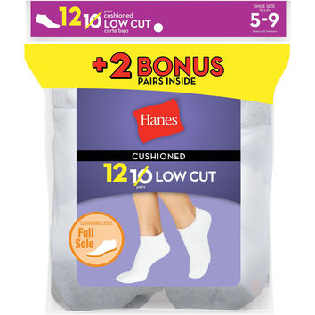 Hanes Womens Cushion Low Cut Socks White 12-Pack (Includes 2 Free Bonus Pairs)