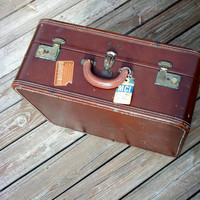 Still Smells Like Leather - Vintage Mid Century Leather Luggage - Unique Large Suitcase - Luxury for the Traveler in it's Day