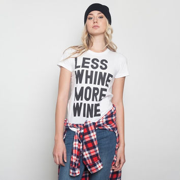 Less Whine More Wine T-Shirt - White
