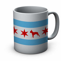 Chicago Flag Boston Terrier Ceramic Mug  - Chicago Coffee Mug - Boston Terrier Mug - Dog Mug - Coffee Cup - Gift for Boston Terrier Lovers