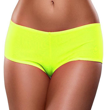Neon Yellow, Blacklight Reactive Mesh Boy Short in S/M