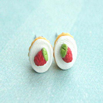 Strawberry Cupcake Stud Earrings