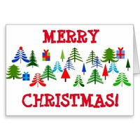 Christmas Card with Trees and Good Wishes