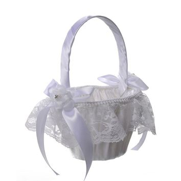 Double Bow Knot Lace Basket Wedding Flower Girl