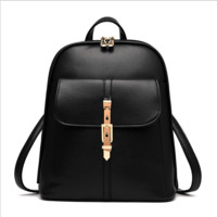 Leather Zipper Black Backpack Travel Bag
