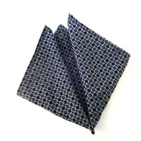 Blue Pocket Square, Blue Silk Pocket Square, Mens Pocket Square, Wedding Pocket Square, Pocket Square with Geometrical Pattern, Handkerchief