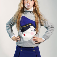 Moschino Girls Graphics Turtle Neck Sweater - HDW007 - FINAL SALE