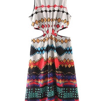 Multicolor Geo-tribal Pattern Cut Out Lined Sleeveless Dress