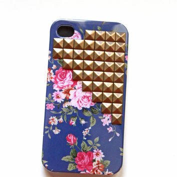 Blue Floral iphone cover with Gold Studs, cellphone cover, Hard case, iPhone 4 Cover, trendy, iPhone 4s, iPhone 4,