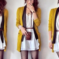 My Style / White Dress - Dark Brown Bag - Black Socks - Mustard Cardigan - Stocking