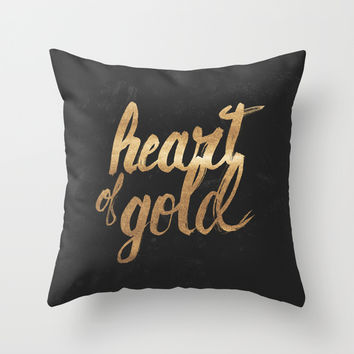 Heart of Gold Throw Pillow by Koning