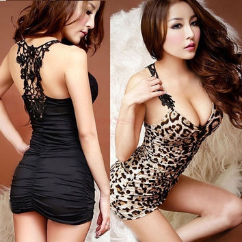 Women's Sexy Leopard Lingerie Sleepwear Nightwear Clubwear Babydoll Mini Dress  SV003307 One Size Vestidos = 1645886340