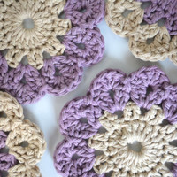 Cotton Flower Coasters, Set of 6, Jute and Lilac Coasters, Crocheted Coasters, Shabby Chic