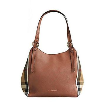 Tote Bag Handbag Authentic Burberry Small Canter in Leather and House Tan color Made in Italy