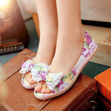 Women Flats Floral Printed Bow Ballet Shoes Woman Loafers 4498 4ffccd95473e