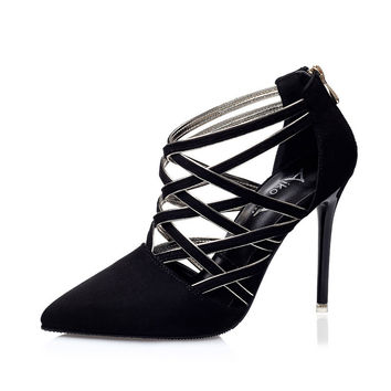 Women Pumps European New Style Booties Ladies Sexy Hollow Cross Lace Up Fine with Nightclubs High Heels Shoes Female