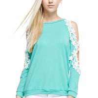 Floral Trim Open Sleeve French Terry Top, Mint
