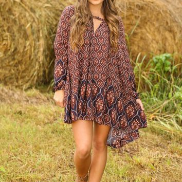 Easy Come, Easy Boho Dress-Navy