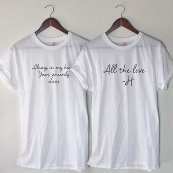 "Larry S Tee Bundle Harry's ""All the Love - H"" and Louis' ""Always in My Heart"" Inspired Quote Set"