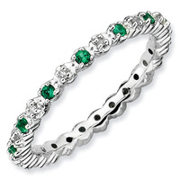 Created Emerald and Diamond Stackable Ring 1/20ctw