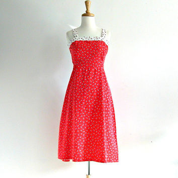 Vintage 1970s Red Dress / 70s sundress / womens jumper / cotton day dress / resort dress / nautical dress / medium large