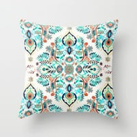Modern Folk in Jewel Colors Throw Pillow by Micklyn | Society6