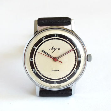 Mens Dress Watch. Thin Mens Watch LUCH. Rare Dial Watch 80s. Vintage Unisex Mechanical Wrist Watch. Ultra Slim Watch 23 Jewels. USSR Watch.