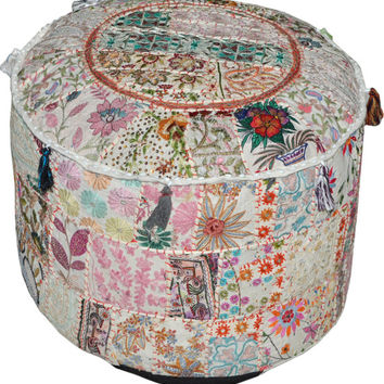 Pretty Indian Pouf in White Stool Vintage Patchwork Living Room Ottoman Cover Hassock bench furniture pouffe footstool chair bean bag