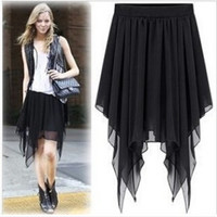 2016 women summer chiffon skirts womens irregular chiffon bust  skirt Asymmetry skirt 8 colors