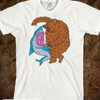 Shark Vs. Bear-Unisex Natural T-Shirt